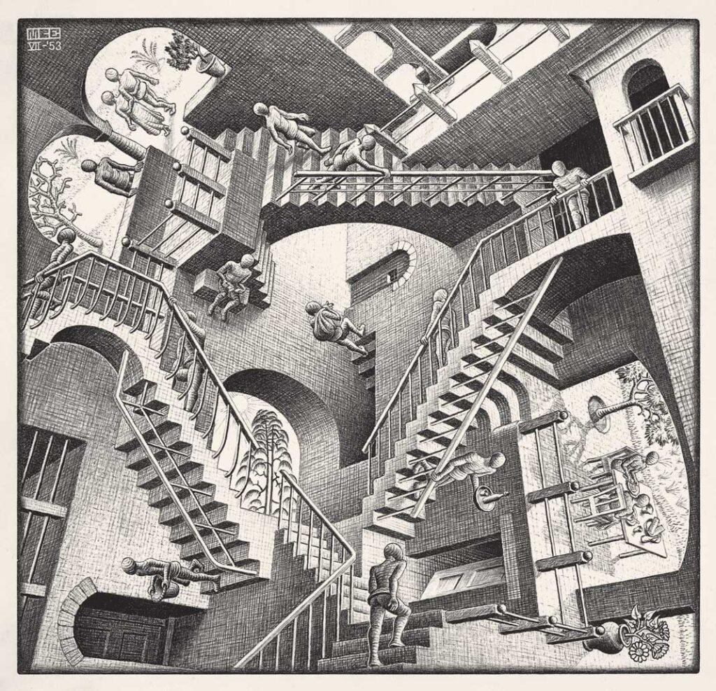 M. C. Escher, Relativity, 1953.