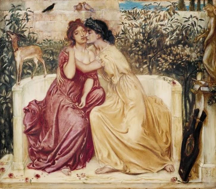 Saffo e Erinna nel Giardino di Mitilene, dipinto di Simeon Solomon, 1864